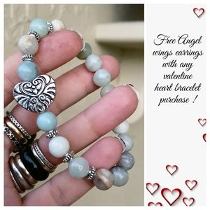 Amazonite valentine heart bracelet + free earrings